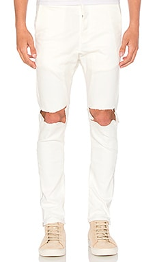 Daniel Patrick Low Crotch Ripped Skinny Jean in Natural