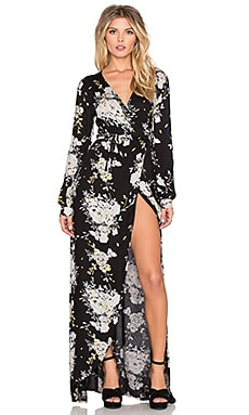 Knot Sisters Daphene Dress in Black Botanical