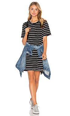 CDM Slouchy Tee Dress in Black Stripe