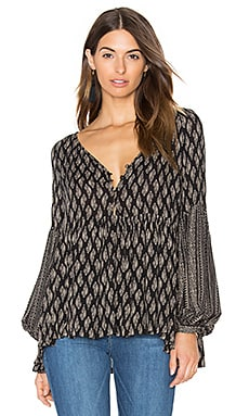 Knot Sisters Carmen Blouse in Black India Block Print