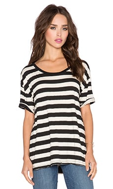 Knot Sisters Kiss Me Tee in Black & Tan Stripe