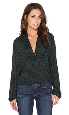Sophia Blouse in Emerald Animal