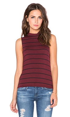 Knot Sisters Teressa Tank in Black & Cranberry Stripe