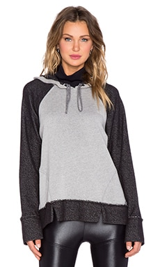 koral activewear Tomoe Cast Slit Hoodie in Heather Grey & Black