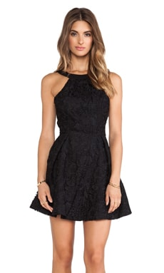 keepsake Take It All Mini Dress in Black Lace