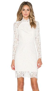 keepsake One Night Long Sleeve Lace Dress in Ivory