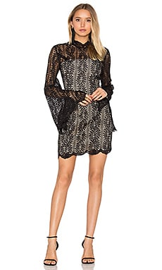 Uptown Long Sleeve Lace Dress in Black