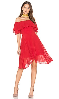 Seasons Pleated Dress in Scarlet Red
