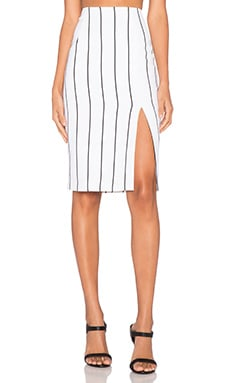 keepsake Feel The Fire Skirt in Ivory Vertical Stripe