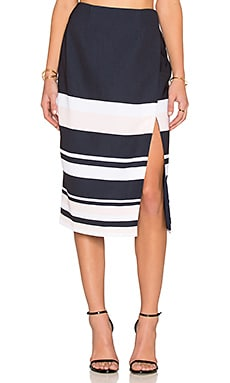 keepsake Split Decisions Skirt in Navy & Shell Stripe