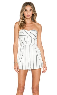 keepsake True Awakening Playsuit in Ivory Vertical Stripe