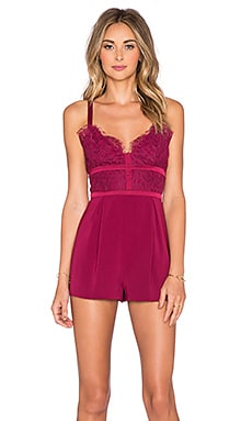 keepsake Interlude Lace Romper in Red Plum