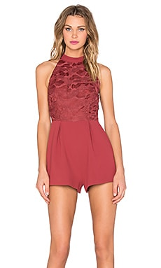 keepsake All Talk Romper in Marsala