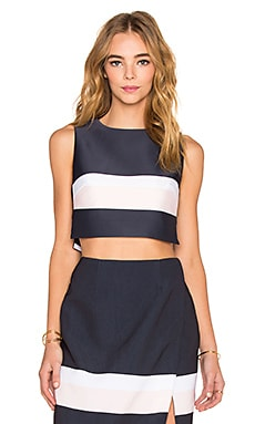 keepsake The Only One Crop Tank in Navy & Shell Stripe