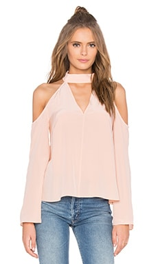 Stay Close Long Sleeve Silk Top in Blush