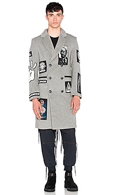 KTZ Double Breasted Long Coat with Patches in Grey & Multi