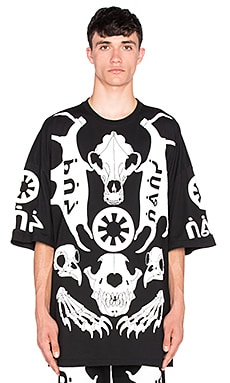 KTZ Skeleton Puff Print Tee in Black & White Puff