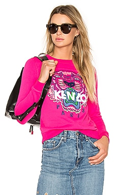 Embroidered Tiger Pullover in Drop Fuchsia