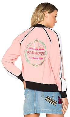 Crepe Back Satin Bomber Jacket en Flamant Rose
