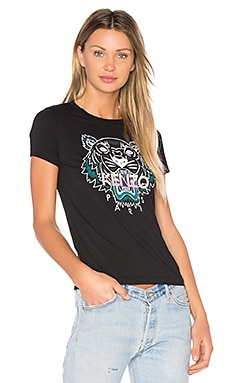 Printed Tiger Tee in Black