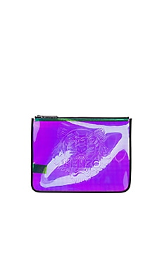 Iridescent PVC Clutch in Multi