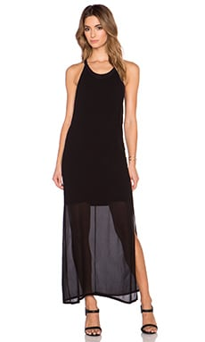 LACAUSA Dume Dress in Tar with Tar Slip