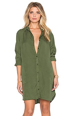 LACAUSA Tencel Mini Shirtdress in Evergreen
