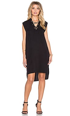 LACAUSA Lace Up Dress in Tar