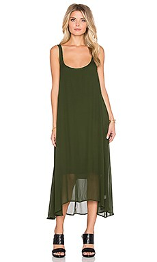 LACAUSA Clara Dress with Easy Slip in Evergreen