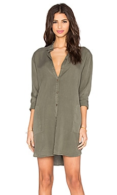 LACAUSA Tencel Mini Shirtdress in Root
