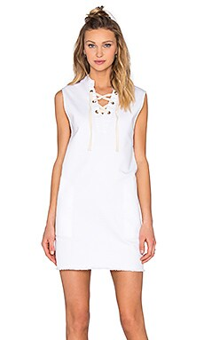 LACAUSA Denim Lace Up Dress in White Wash