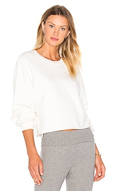 LACAUSA Cropped Pullover Sweatshirt in Bone