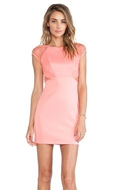 Ladakh Laced Neoprene Dress in Peach