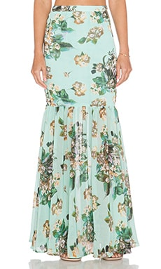 Ladakh Fresh Floral Maxi Skirt in Turquoise
