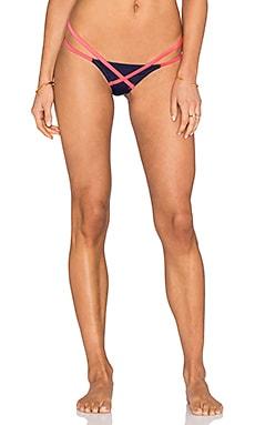 Eleena Bikini Bottom in Navy & Neon Melon