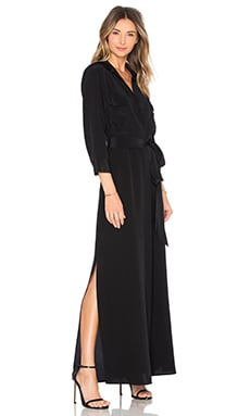 L'AGENCE Cameron Maxi Shirt Dress in Black