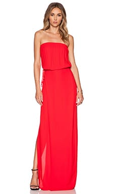 L'AGENCE Strapless Wrap Maxi Dress in Crimson
