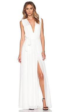Deep V Pleated Maxi Dress in White