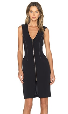 L'AGENCE Eva Zip Front Dress in Black & Natural