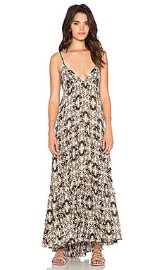 L'AGENCE Grace Maxi Dress in Champagne & Dark Brown