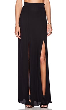 L'AGENCE Double Slit Maxi Skirt in Black