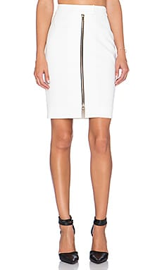 L'AGENCE Corine Zip Front Skirt in White
