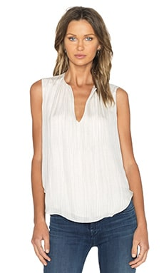 L'AGENCE Abella Shirred Keyhole Blouse in Antique & White Cobra