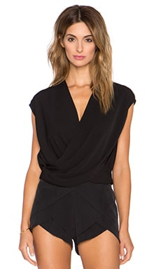 L'AGENCE T Lee Criss Cross Cropped Blouse in Black