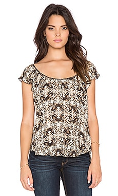 L'AGENCE Larice Flutter Sleeve Top in Champagne & Dark Brown