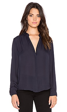 L'AGENCE Bianca Long Sleeve Blouse in Midnight