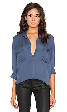 L'AGENCE Margaret Double Pocket Blouse in Blue Slate