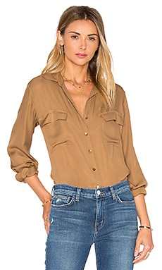 Margaret Double Pocket Blouse en Muscade
