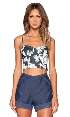 L'AGENCE Karel Crop Bustier in Midnight & White Flower