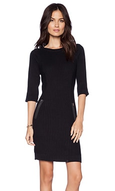 LA Made Zip Sweater Dress in Black
